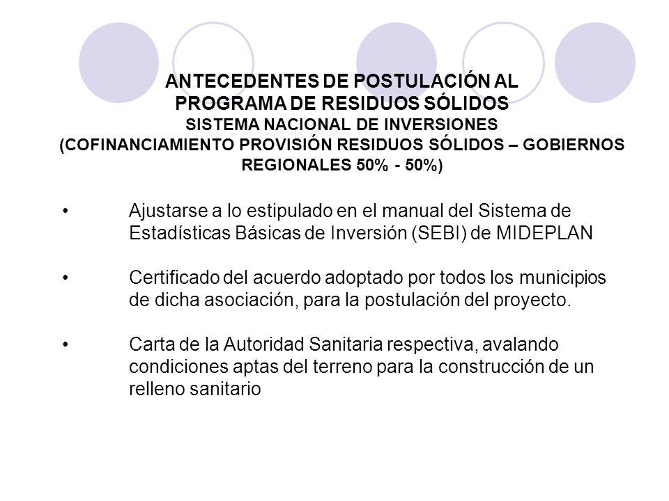 ANTECEDENTES DE POSTULACIÓN AL SISTEMA NACIONAL DE INVERSIONES