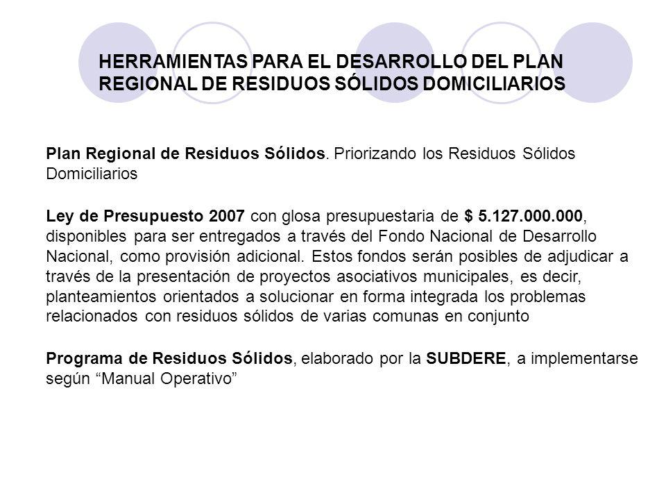 HERRAMIENTAS PARA EL DESARROLLO DEL PLAN REGIONAL DE RESIDUOS SÓLIDOS DOMICILIARIOS