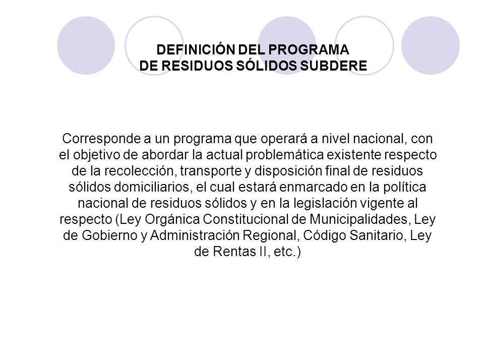 DEFINICIÓN DEL PROGRAMA DE RESIDUOS SÓLIDOS SUBDERE
