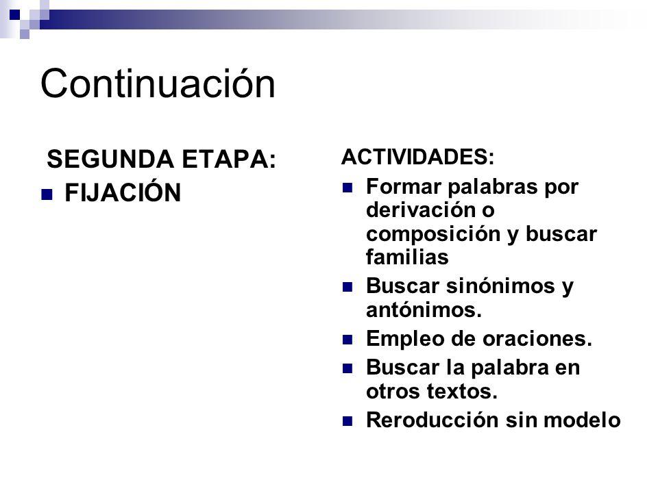 Continuación SEGUNDA ETAPA: FIJACIÓN ACTIVIDADES: