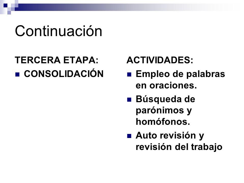 Continuación TERCERA ETAPA: CONSOLIDACIÓN ACTIVIDADES: