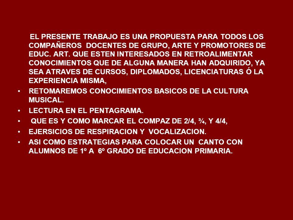 EL PRESENTE TRABAJO ES UNA PROPUESTA PARA TODOS LOS COMPAÑEROS DOCENTES DE GRUPO, ARTE Y PROMOTORES DE EDUC. ART. QUE ESTEN INTERESADOS EN RETROALIMENTAR CONOCIMIENTOS QUE DE ALGUNA MANERA HAN ADQUIRIDO, YA SEA ATRAVES DE CURSOS, DIPLOMADOS, LICENCIATURAS Ó LA EXPERIENCIA MISMA,
