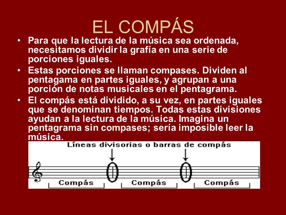 EL COMPÁS Para que la lectura de la música sea ordenada, necesitamos dividir la grafía en una serie de porciones iguales.