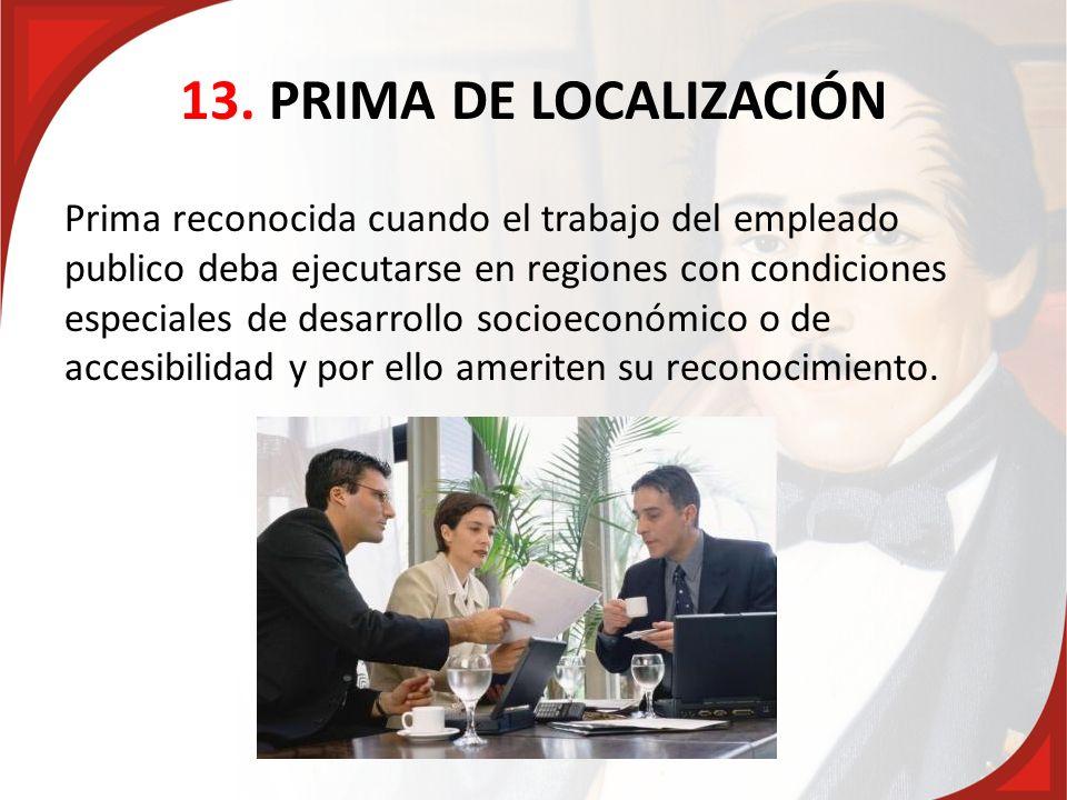 13. PRIMA DE LOCALIZACIÓN