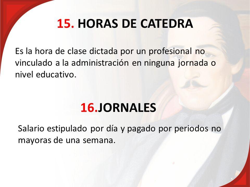 15. HORAS DE CATEDRA 16.JORNALES