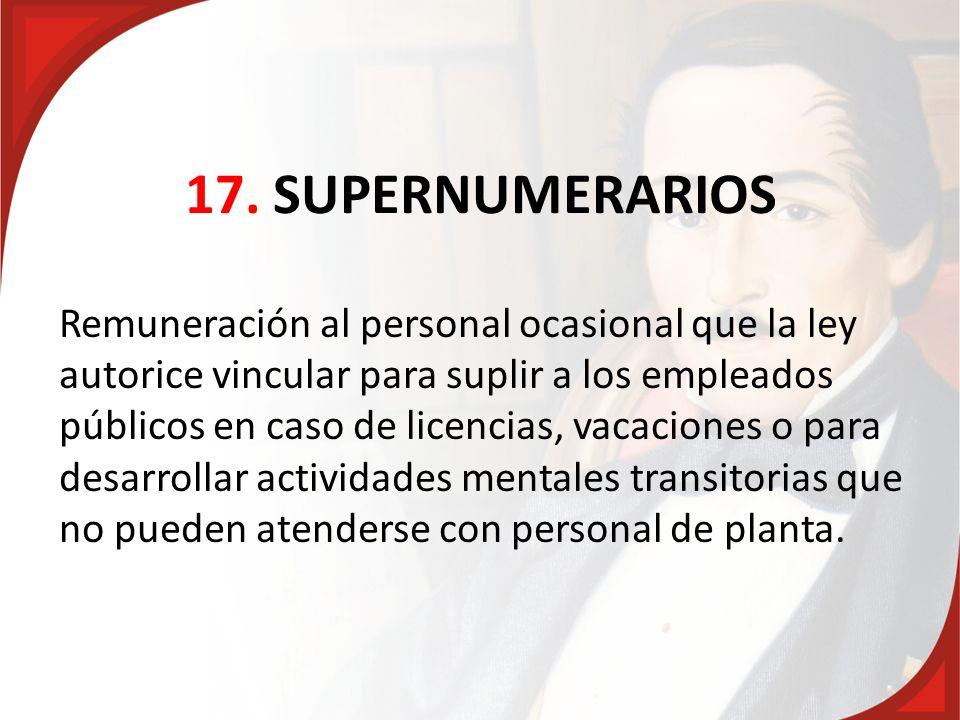 17. SUPERNUMERARIOS