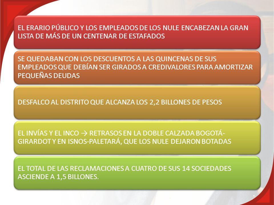 EL ERARIO PÚBLICO Y LOS EMPLEADOS DE LOS NULE ENCABEZAN LA GRAN LISTA DE MÁS DE UN CENTENAR DE ESTAFADOS