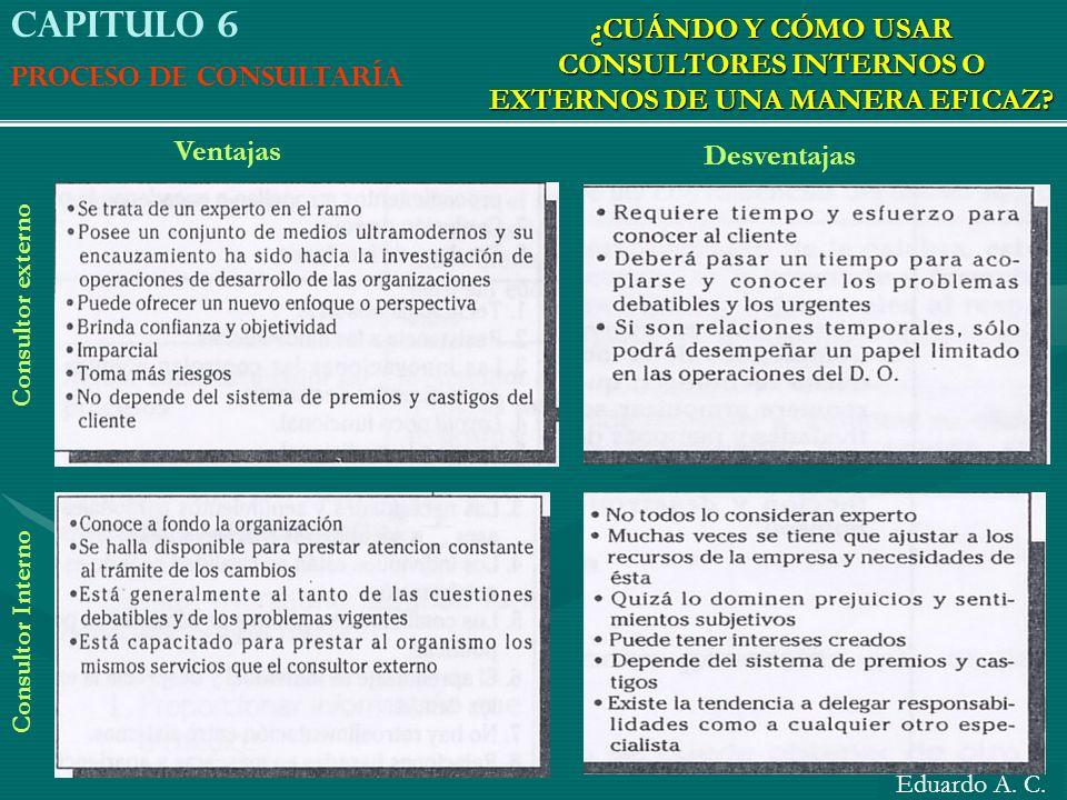Capitulo 6 Proceso de consultaría. ¿CUÁNDO Y CÓMO USAR CONSULTORES INTERNOS O EXTERNOS DE UNA MANERA EFICAZ