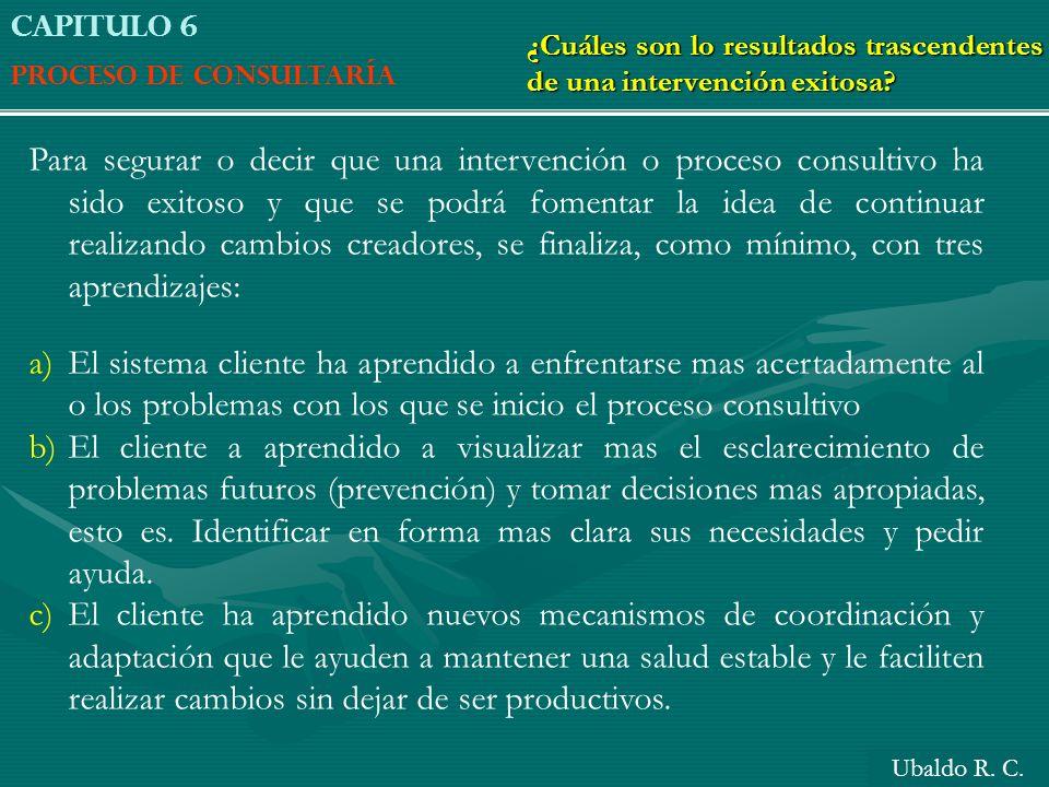 Capitulo 6 Proceso de consultaría. ¿Cuáles son lo resultados trascendentes de una intervención exitosa