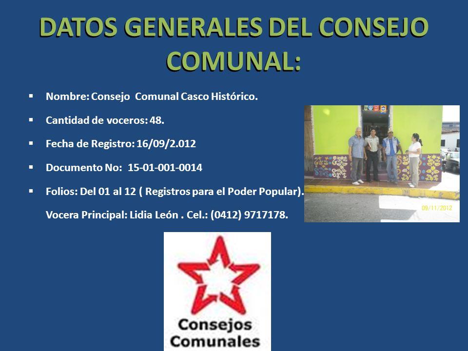 DATOS GENERALES DEL CONSEJO COMUNAL: