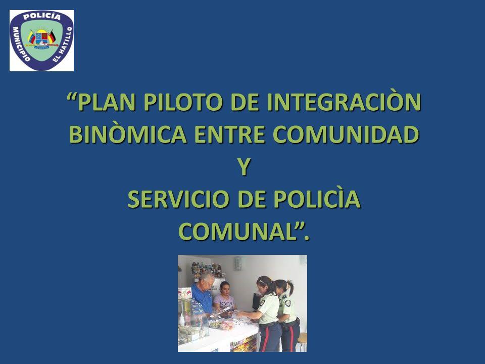 PLAN PILOTO DE INTEGRACIÒN BINÒMICA ENTRE COMUNIDAD Y