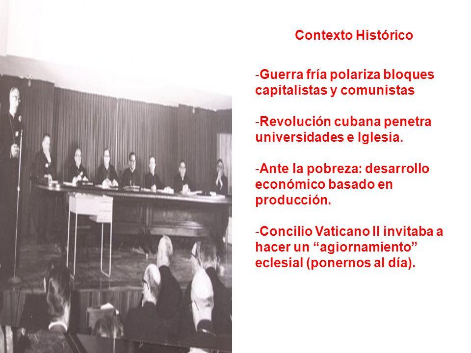 Contexto Histórico Guerra fría polariza bloques capitalistas y comunistas. Revolución cubana penetra universidades e Iglesia.