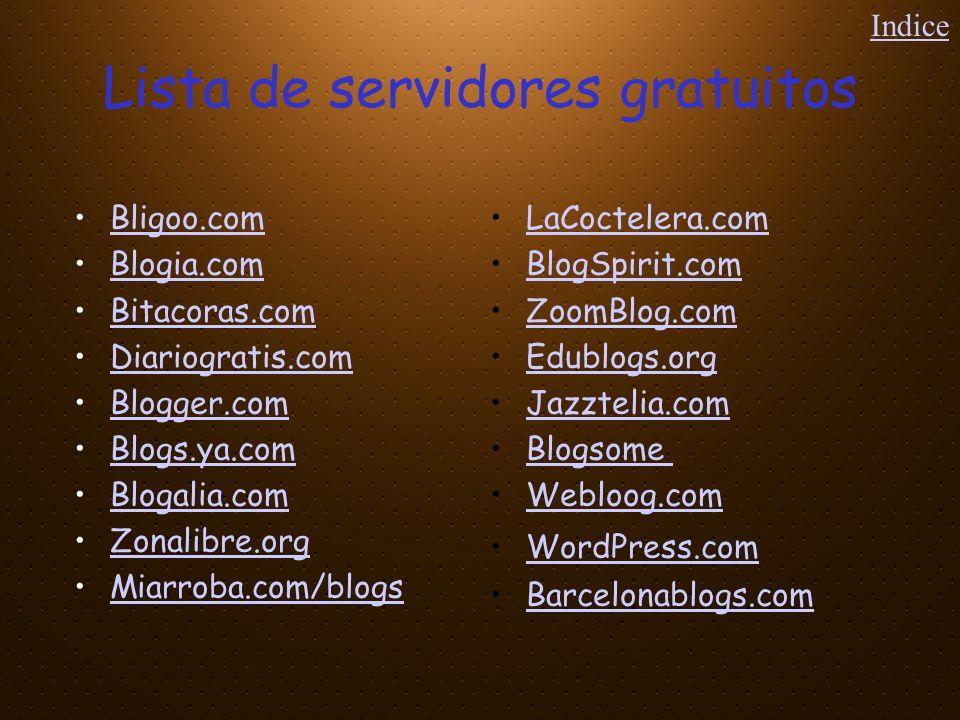 Lista de servidores gratuitos