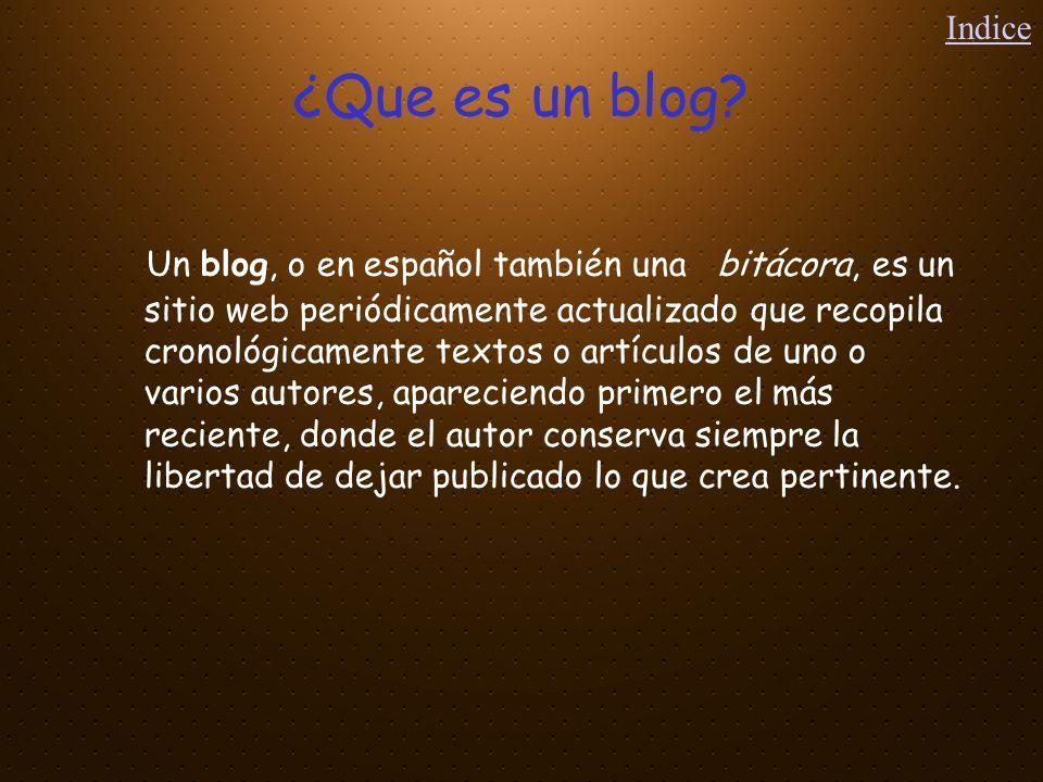 Indice ¿Que es un blog