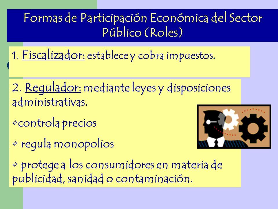 Formas de Participación Económica del Sector Público (Roles)