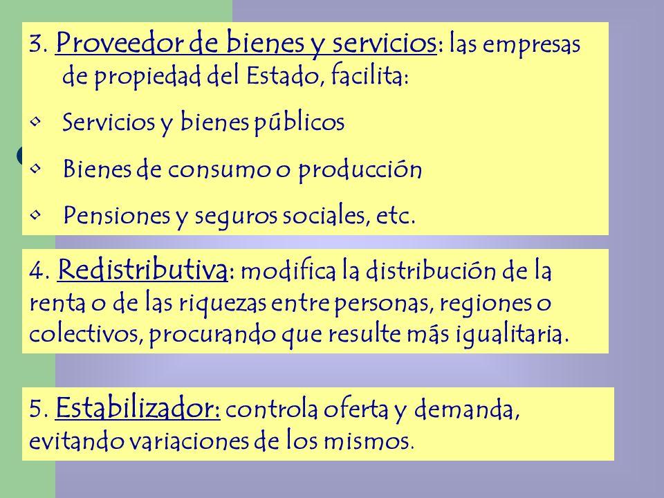 3. Proveedor de bienes y servicios: las empresas de propiedad del Estado, facilita: