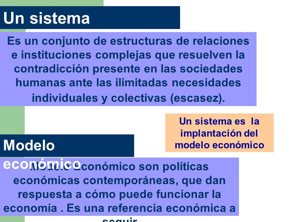 Un sistema es la implantación del modelo económico