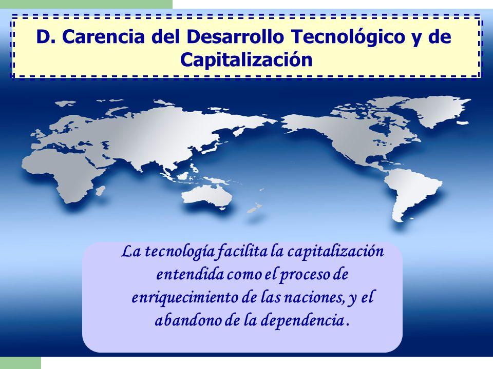 D. Carencia del Desarrollo Tecnológico y de