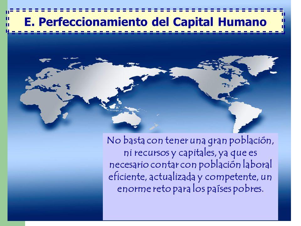 E. Perfeccionamiento del Capital Humano