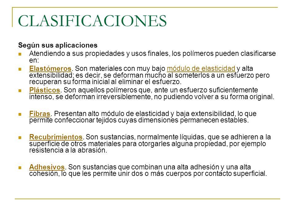 CLASIFICACIONES Según sus aplicaciones