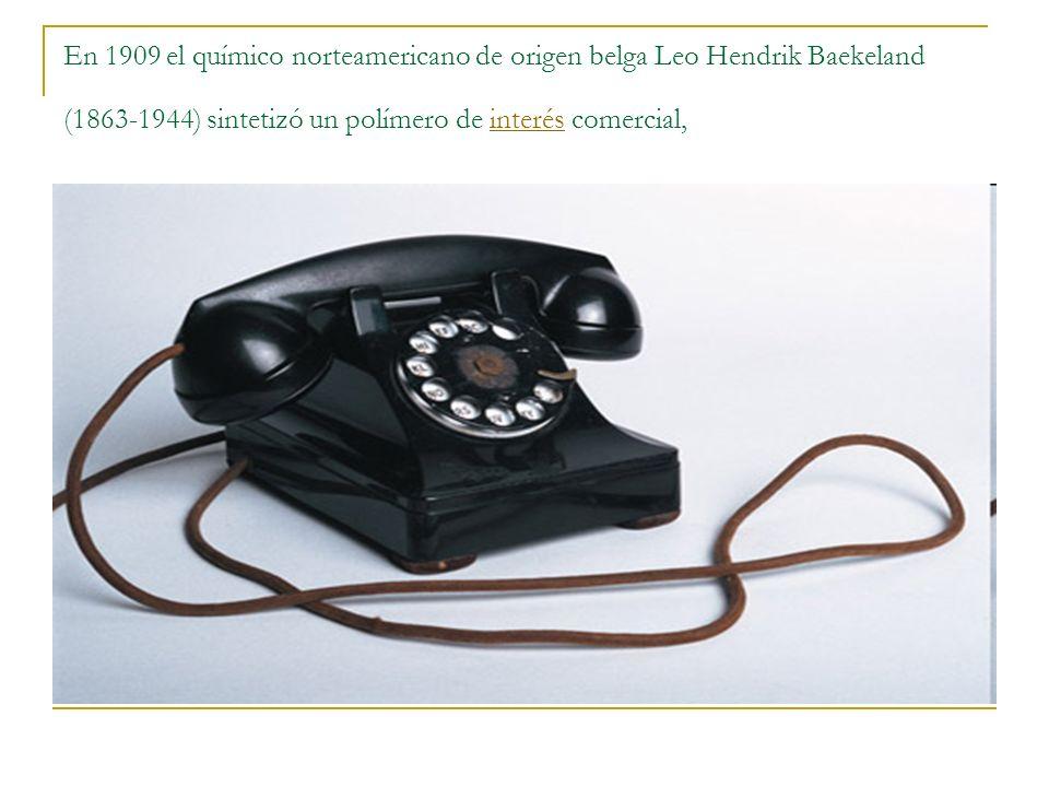 En 1909 el químico norteamericano de origen belga Leo Hendrik Baekeland (1863-1944) sintetizó un polímero de interés comercial,