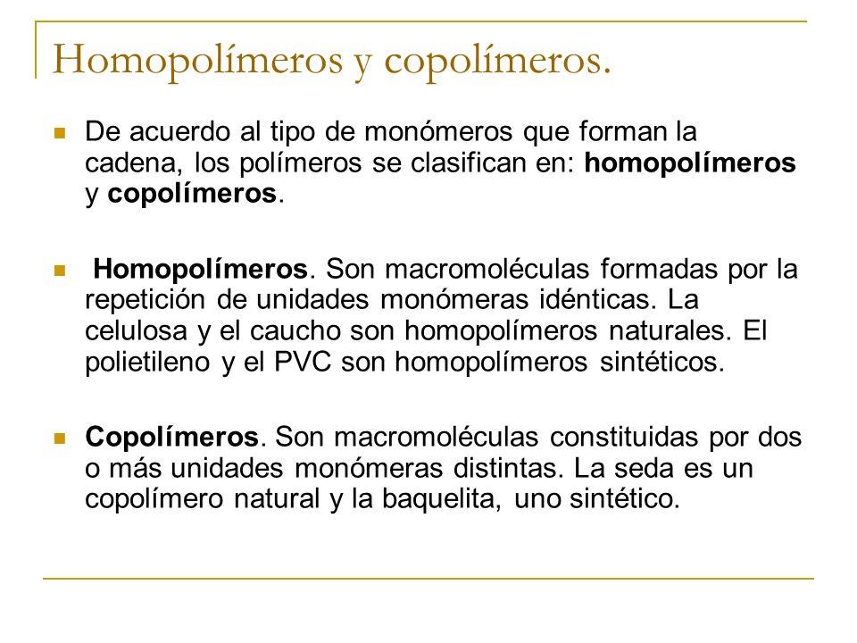 Homopolímeros y copolímeros.