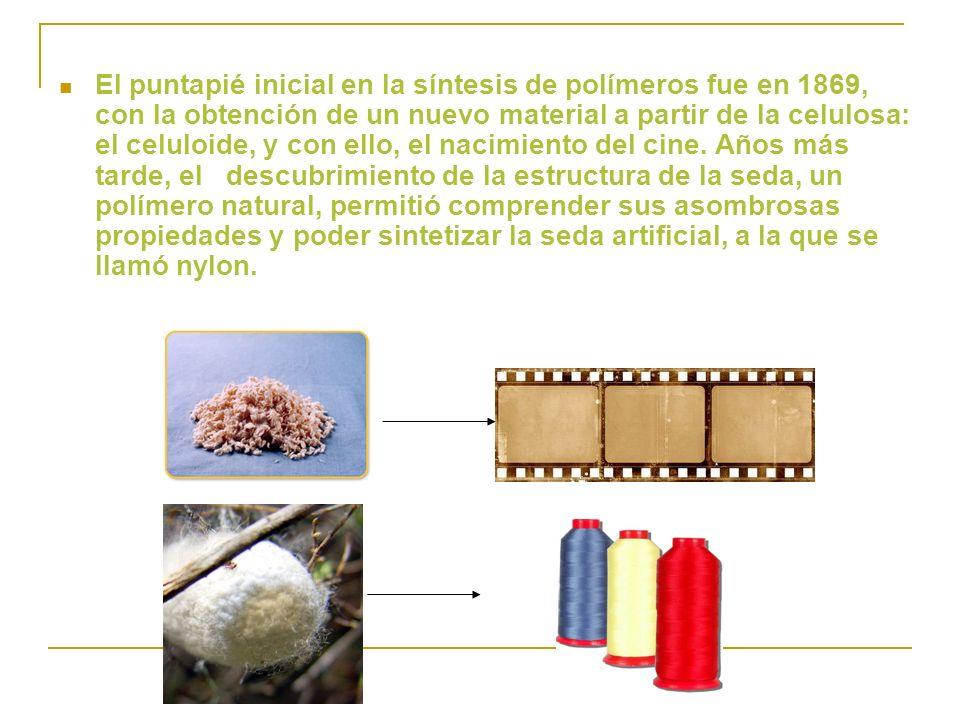 El puntapié inicial en la síntesis de polímeros fue en 1869, con la obtención de un nuevo material a partir de la celulosa: el celuloide, y con ello, el nacimiento del cine.