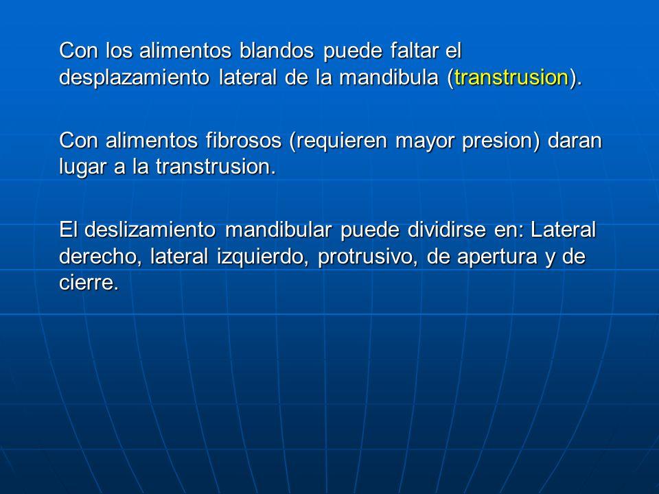 Con los alimentos blandos puede faltar el desplazamiento lateral de la mandibula (transtrusion).