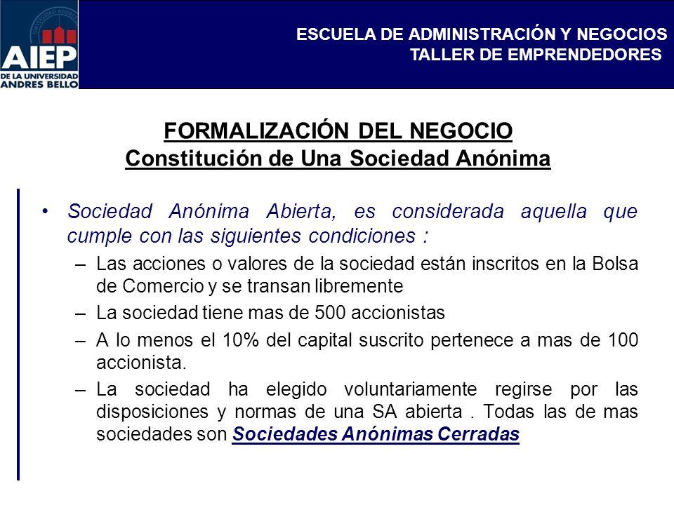 FORMALIZACIÓN DEL NEGOCIO Constitución de Una Sociedad Anónima