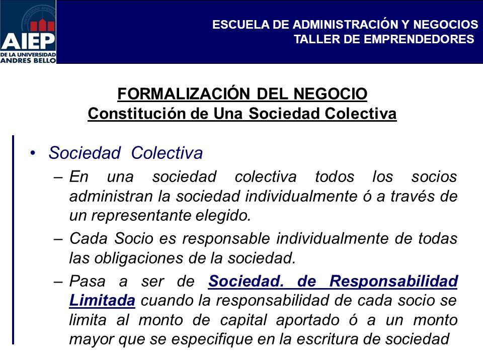 FORMALIZACIÓN DEL NEGOCIO Constitución de Una Sociedad Colectiva