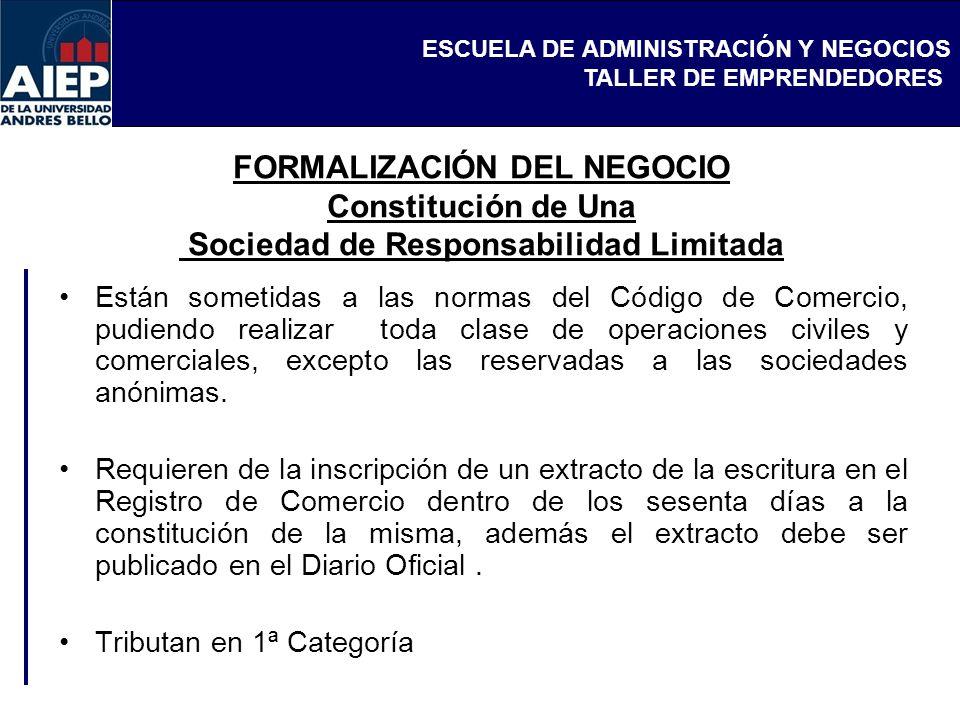 FORMALIZACIÓN DEL NEGOCIO Constitución de Una Sociedad de Responsabilidad Limitada