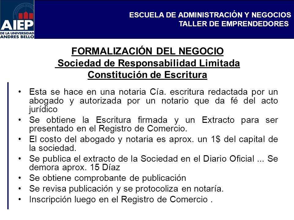 FORMALIZACIÓN DEL NEGOCIO Sociedad de Responsabilidad Limitada Constitución de Escritura