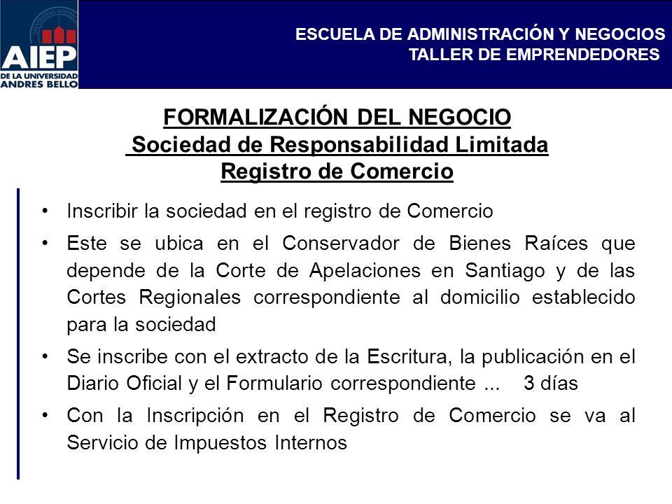 FORMALIZACIÓN DEL NEGOCIO Sociedad de Responsabilidad Limitada Registro de Comercio