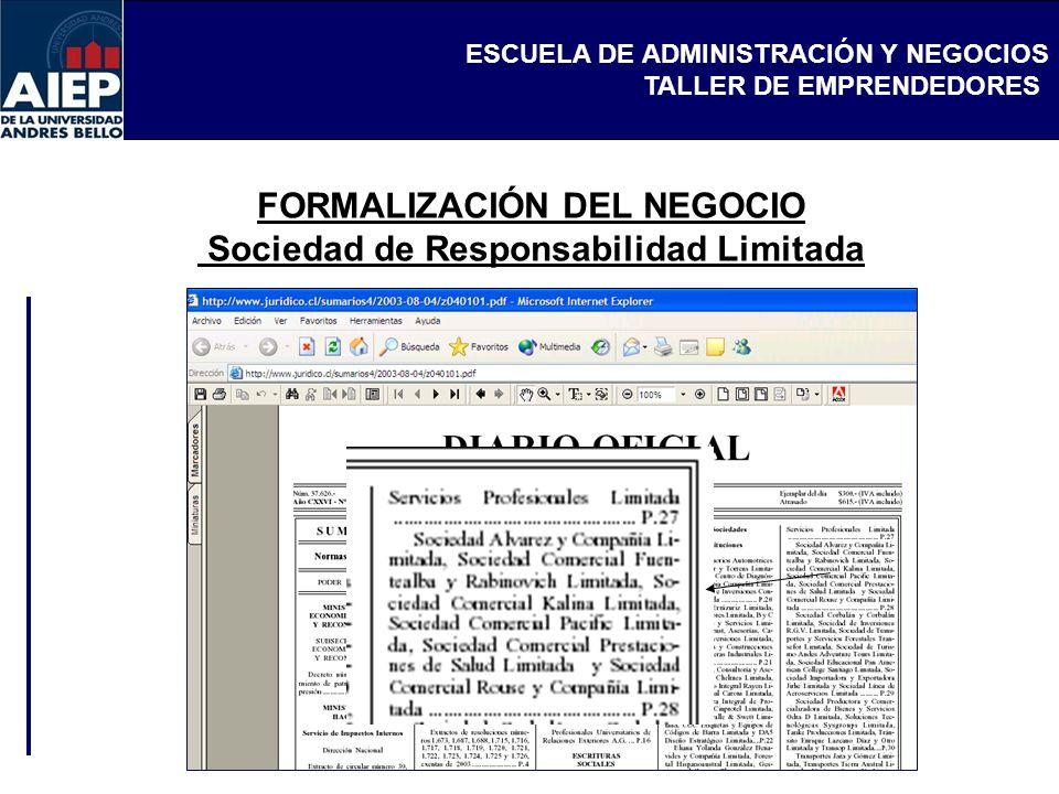 FORMALIZACIÓN DEL NEGOCIO Sociedad de Responsabilidad Limitada