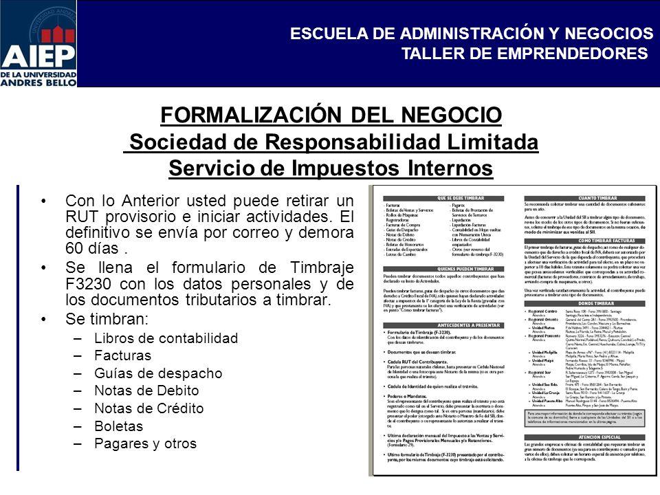 FORMALIZACIÓN DEL NEGOCIO Sociedad de Responsabilidad Limitada Servicio de Impuestos Internos