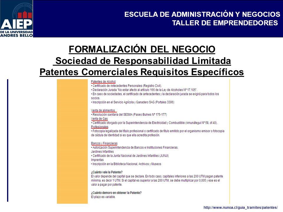 FORMALIZACIÓN DEL NEGOCIO Sociedad de Responsabilidad Limitada Patentes Comerciales Requisitos Específicos