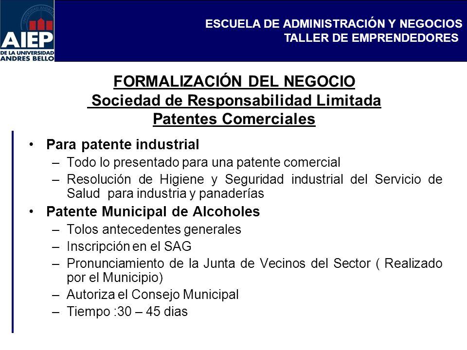FORMALIZACIÓN DEL NEGOCIO Sociedad de Responsabilidad Limitada Patentes Comerciales