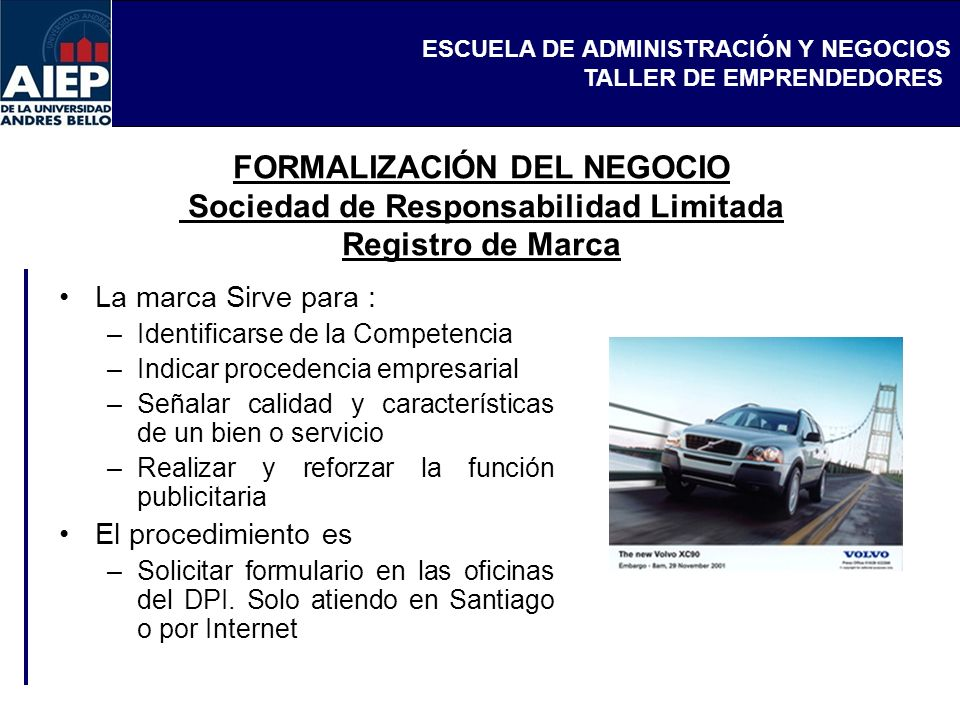 FORMALIZACIÓN DEL NEGOCIO Sociedad de Responsabilidad Limitada Registro de Marca