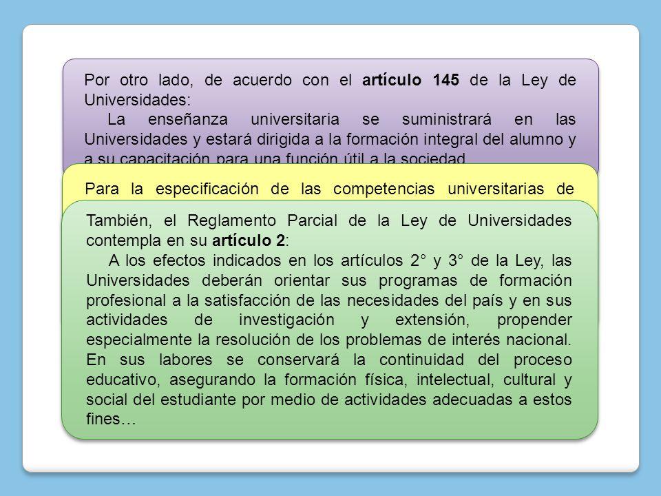 Por otro lado, de acuerdo con el artículo 145 de la Ley de Universidades: