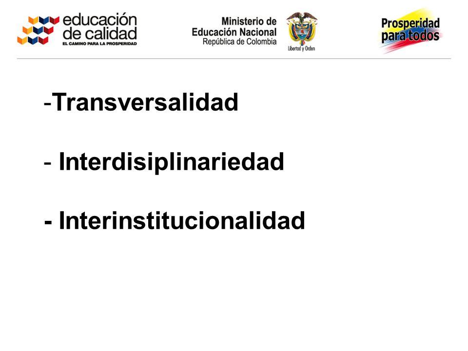 Transversalidad Interdisiplinariedad - Interinstitucionalidad