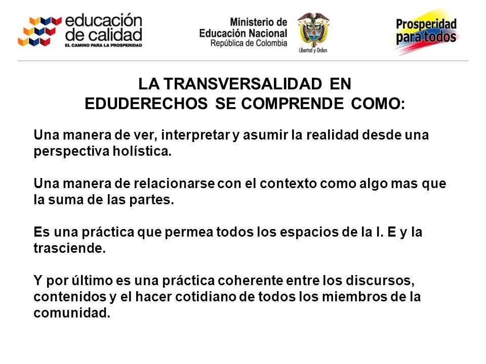 LA TRANSVERSALIDAD EN EDUDERECHOS SE COMPRENDE COMO: