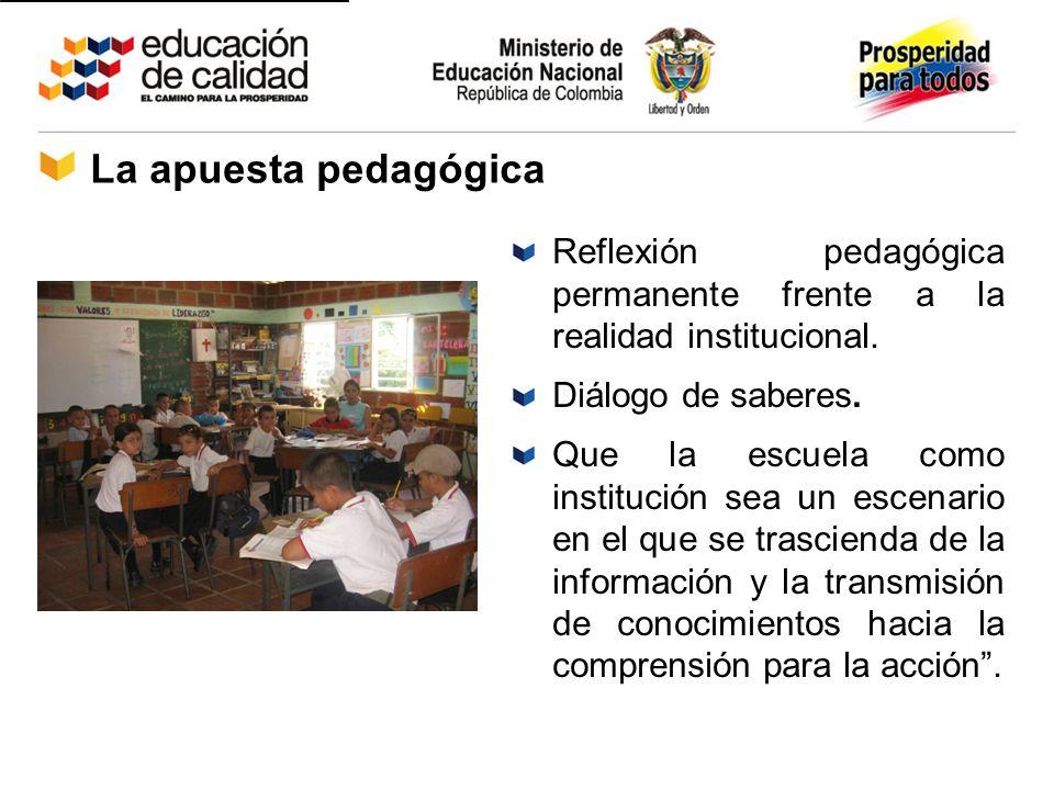 La apuesta pedagógica Reflexión pedagógica permanente frente a la realidad institucional. Diálogo de saberes.