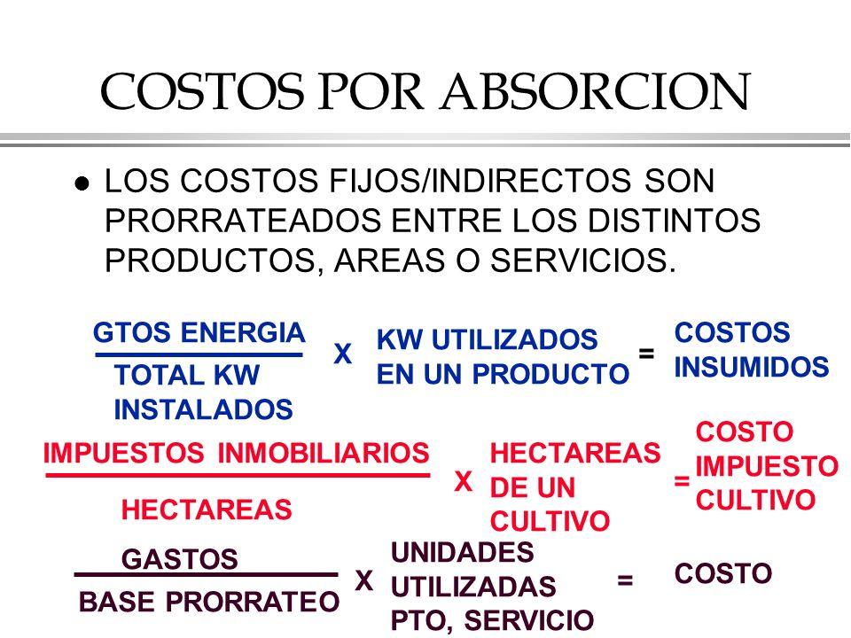 COSTOS POR ABSORCION LOS COSTOS FIJOS/INDIRECTOS SON PRORRATEADOS ENTRE LOS DISTINTOS PRODUCTOS, AREAS O SERVICIOS.