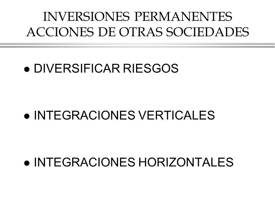 INVERSIONES PERMANENTES ACCIONES DE OTRAS SOCIEDADES
