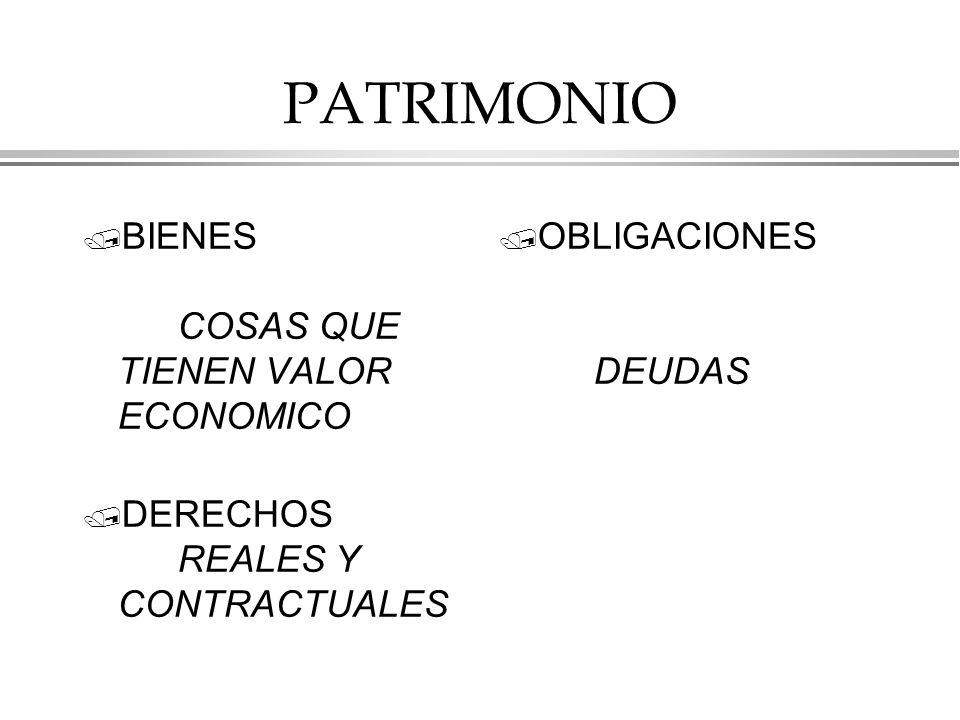 PATRIMONIO BIENES COSAS QUE TIENEN VALOR ECONOMICO