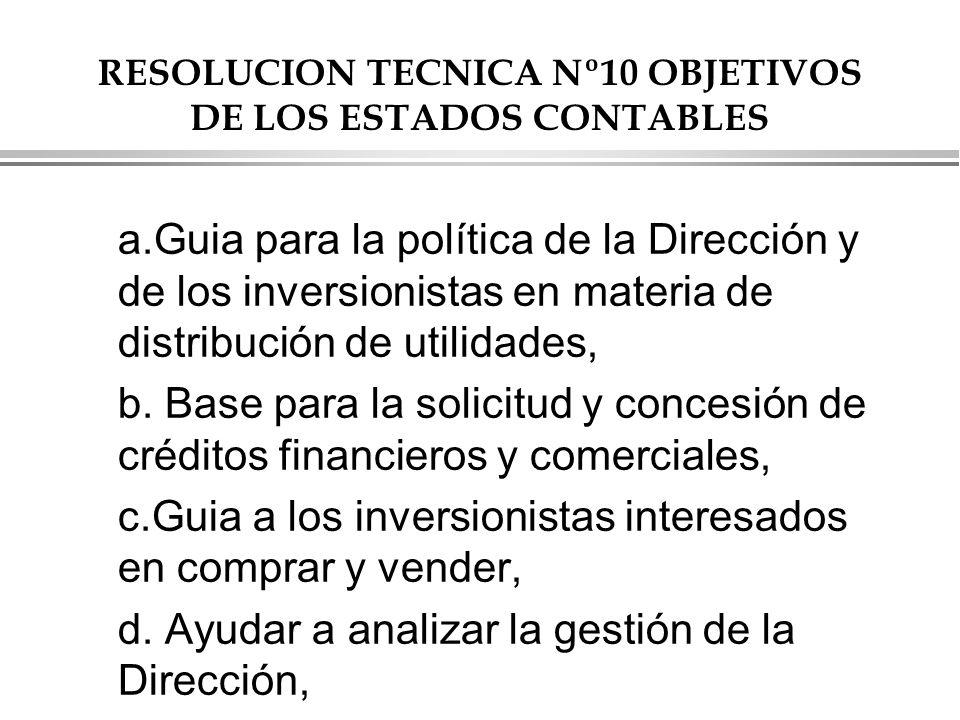 RESOLUCION TECNICA Nº10 OBJETIVOS DE LOS ESTADOS CONTABLES