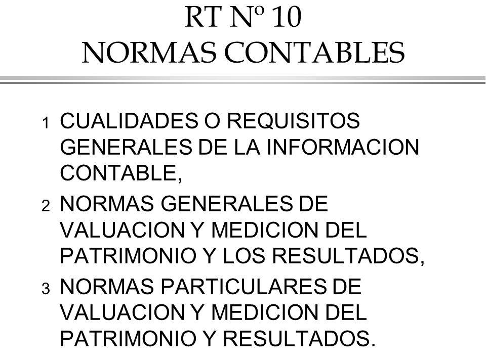 RT Nº 10 NORMAS CONTABLES CUALIDADES O REQUISITOS GENERALES DE LA INFORMACION CONTABLE,