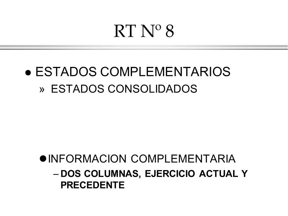 RT Nº 8 ESTADOS COMPLEMENTARIOS ESTADOS CONSOLIDADOS