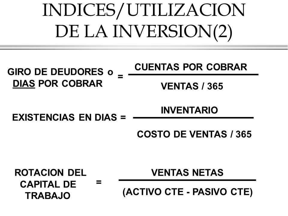 INDICES/UTILIZACION DE LA INVERSION(2)