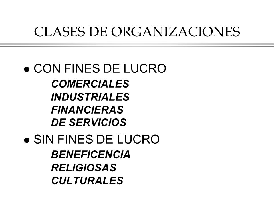 CLASES DE ORGANIZACIONES
